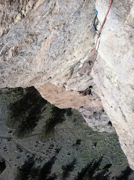 Looking down the crux pitch.