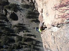 Rock Climbing Photo: Mike finishing up the top of Pitch 3.