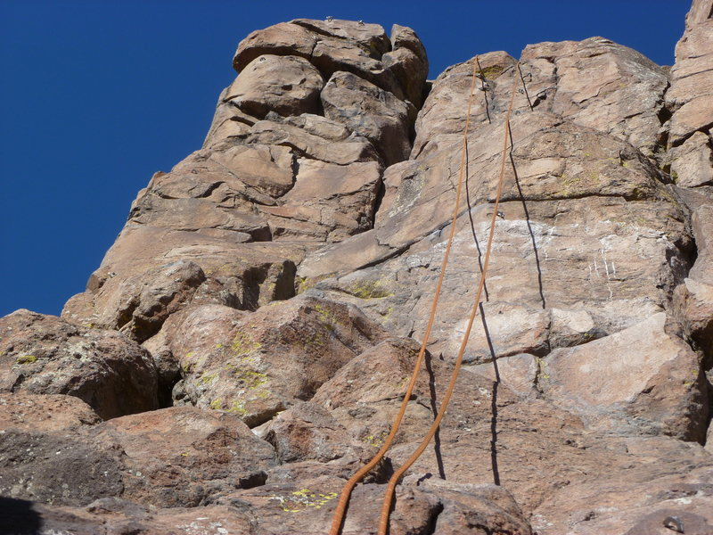 Rock Climbing Photo: The crack is to the left of the rope.