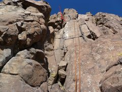 Rock Climbing Photo: Red arrows show the crux of the route.