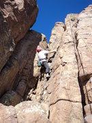 Rock Climbing Photo: Deb gets into climbing warm rock in January.