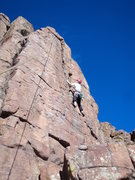 Rock Climbing Photo: Deb has her hands near the block that may not be a...