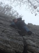 Rock Climbing Photo: Climbing Fat Crack in the January rain...Brrrrr! Z...