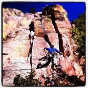 Rock Climbing Photo: Greg Keith leading White Lightning on a sunny day ...