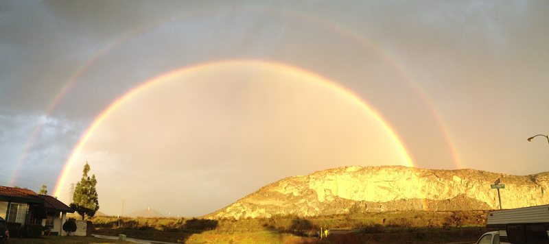 Rock Climbing Photo: Double Rainbow at the quarry...Riverside Quarry, t...