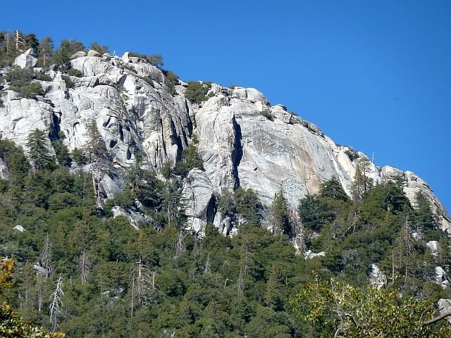 The south face of Suicide Rock from Fern Valley, Idyllwild