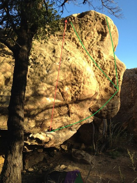 Rock Climbing Photo: Chummin' follows the green line to the scoop on th...