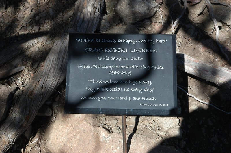Climber Memorial, Craig Luebben, North Table Mountain.