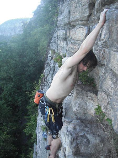 Brett Longwell high atop Horseman in an idyllic Gunks setting.  Who knew 5.5 could get so good...?