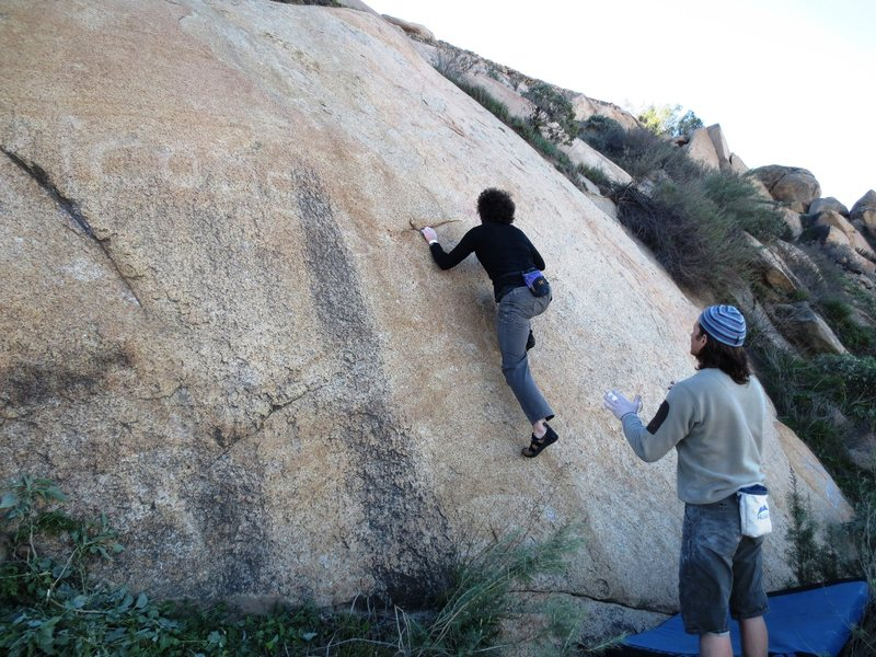 The crux moves on perfect rock.