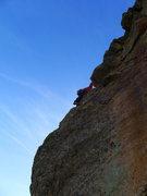 Rock Climbing Photo: Matt rounding the corner on P3.