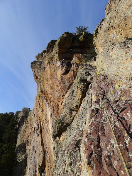 P4 (we belayed at the notch then did the rest as 2 shorter pitches).