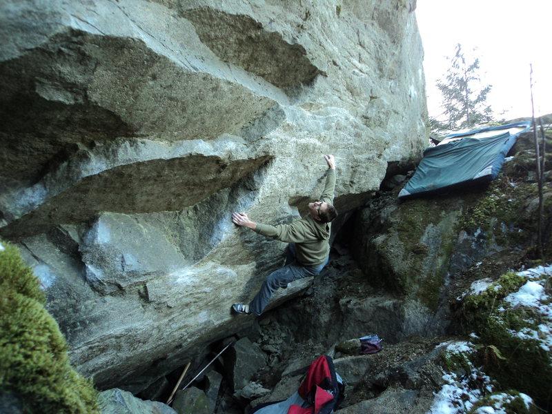 Nate fooling around on the Falconer Boulder.