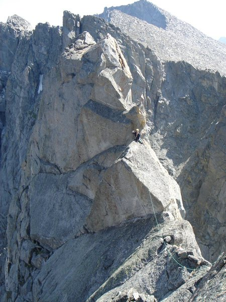 Rock Climbing Photo: Tyler follows the wild & airy traverse to the N su...