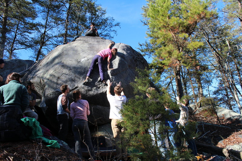 Dixon School Boulders<br> The Egg<br> <br> Erica Lineberry sends<br> Earthquake V3<br> <br> Crowders Mountain State Park, North Carolina