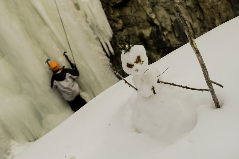 Snowman hanging out over the Ice in the 11th Hour Gulch