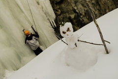 Rock Climbing Photo: Snowman hanging out over the Ice in the 11th Hour ...
