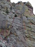 Rock Climbing Photo: An overview of the whole route. The belay is marke...