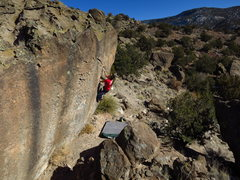 Rock Climbing Photo: Moving through the middle portion of the problem, ...