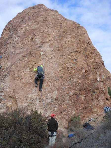 "Rock Climbing Photo: Halfway up on ""20 Nuggets."""