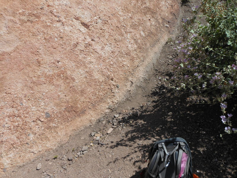 Soil erosion at the base of Hyperion Slab after some heavy rains. Perhaps the slab is increasing in size due to the erosion.