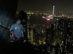 climbing partner chandler on central crags, hong kong.