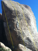 Rock Climbing Photo: Spinal Tap is the middle line. Unknown on the righ...