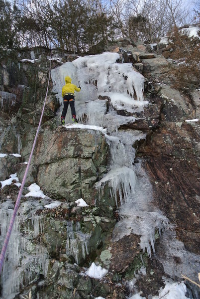 Rock Climbing Photo: Paul in the midst of winter goodness at Devil's La...