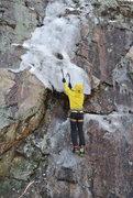 Rock Climbing Photo: Paul works fun thin ice smear.  Wintertime at Devi...