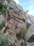 Rock Climbing Photo: Moving through the thin seam