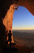 Rock Climbing Photo: Doug gets a SUNset BURN on  Midget Proof (5.12)