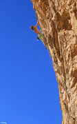 Rock Climbing Photo: Cody climbing the 5.13 approach pitch into his pro...
