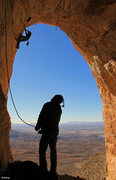 Rock Climbing Photo: Ben & Ed shake off the morning cold in the Bat Cav...