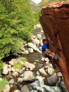 Rock Climbing Photo: Last boulder problem before mantle