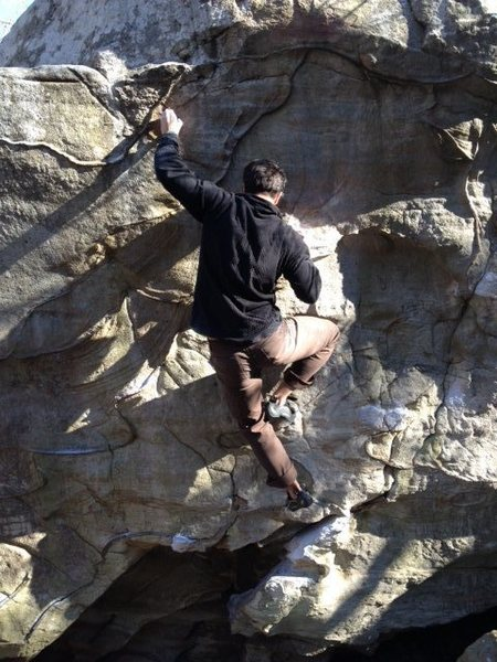 Rock Climbing Photo: Kris setting up for the big move on Standard Varia...