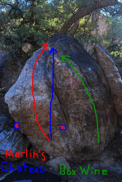 The three routes on the vineyard boulder