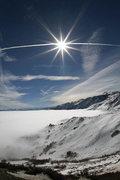 Rock Climbing Photo: Mono lake; clouds and contrails