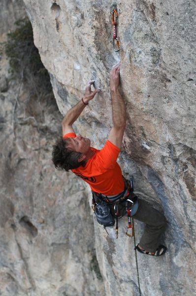 Toti Vales; climbs at Montgrony..an area that he and his friend Pere have helped develop over the years - a region in the Pyrenees.