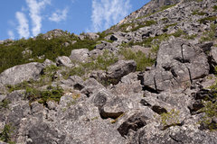 Rock Climbing Photo: A glimpse of the lower talus field.  Large boulder...