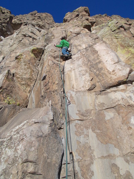 "Heading into the crux, ""Basalt and Battery""."