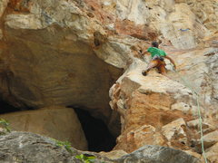 Rock Climbing Photo: The crux of the first pitch is this left leaning f...
