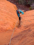 Rock Climbing Photo: Working through the offwidth on pitch 1. January 2...