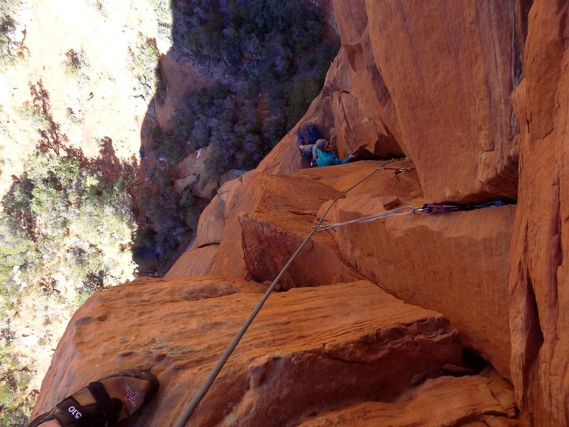 Rock Climbing Photo: Looking down the short corner of P2.