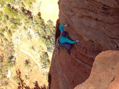 Rock Climbing Photo: The slabby traverse near the top of P2.