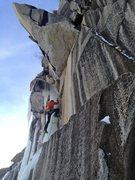 Rock Climbing Photo: Climbing the pillar on the second pitch. Jediah Po...