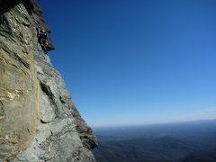Rock Climbing Photo: Dustin Drake leading Peak-A-Boo pitch 2