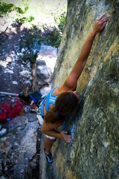Rock Climbing Photo: Lena Pulling near the top of ignition.