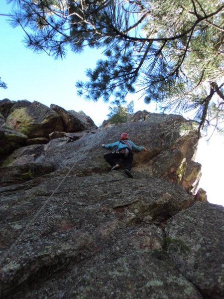 Deb begins the crux bit.  It's still licheny.
