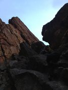 Rock Climbing Photo: Downclimb option from the South Arete of Queen Ann...