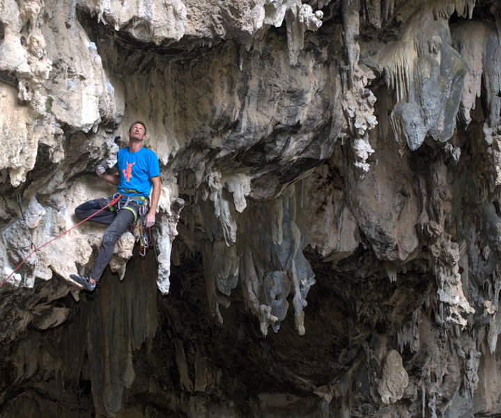 Rock Climbing Photo: Mike heads out into the roof and finds one of the ...